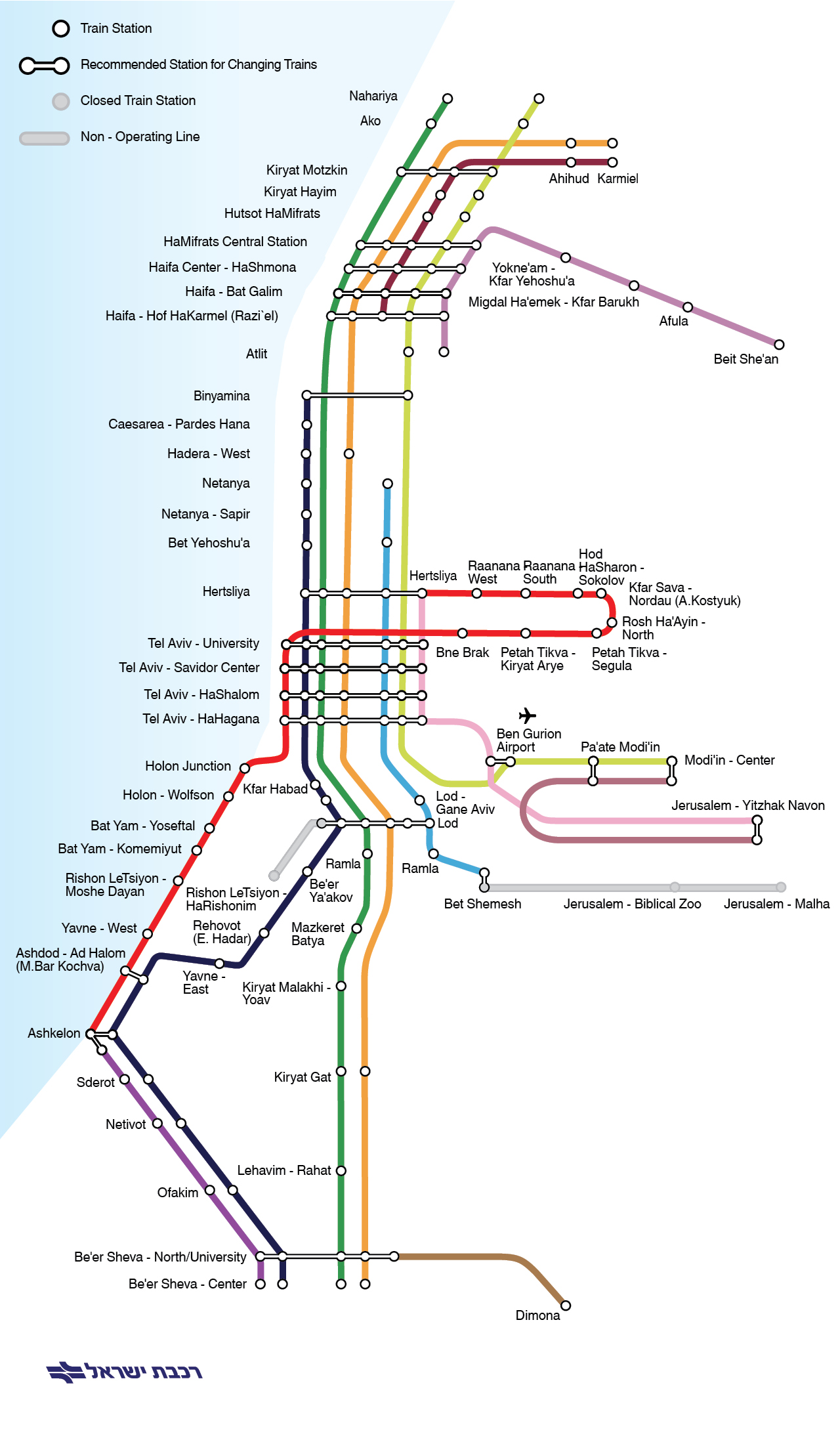 Israel Railways Lines and Stations